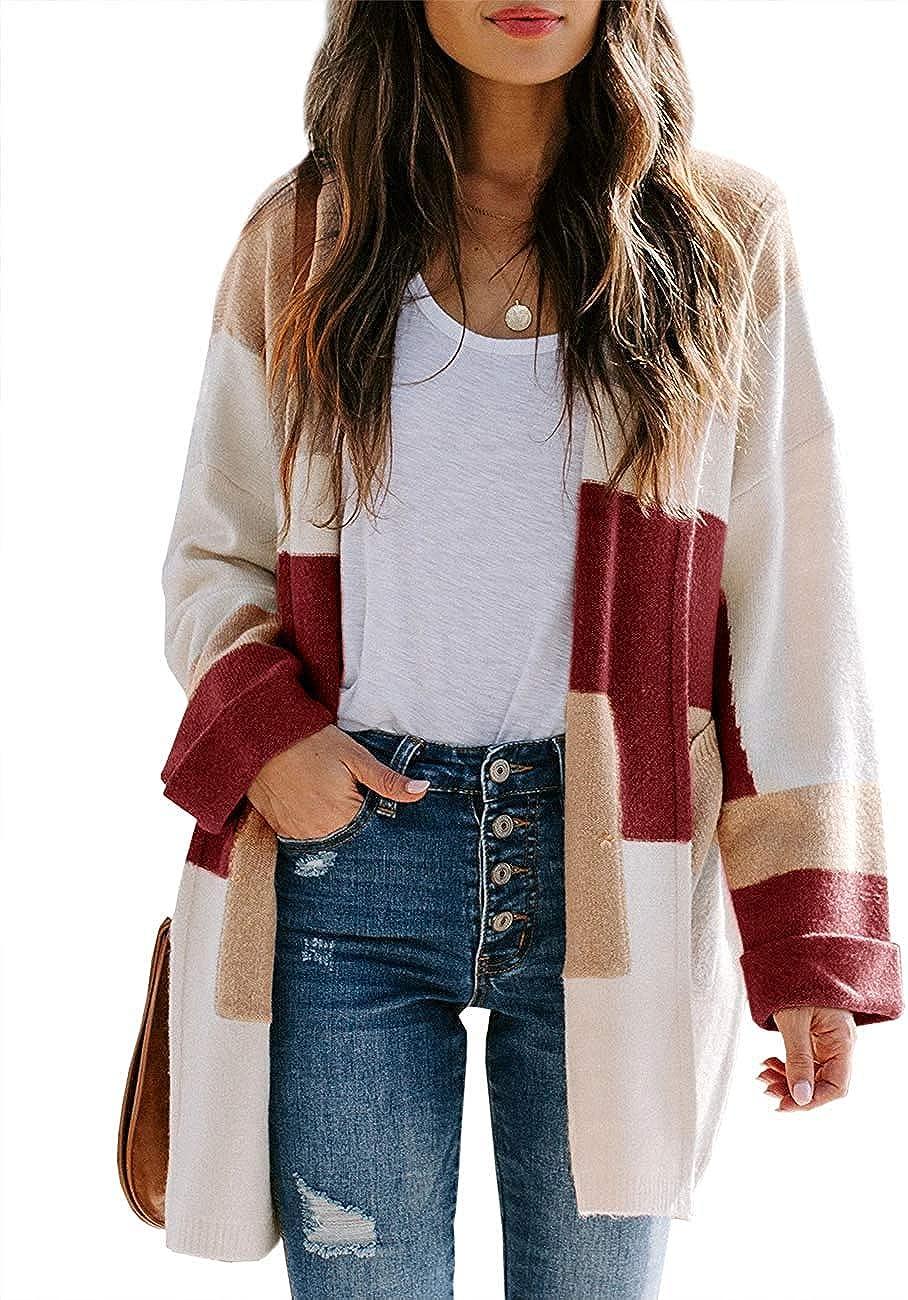 Women Colour Block Long Sleeve Boyfriend Cardigan Tee Tops Open Winter Plus Size
