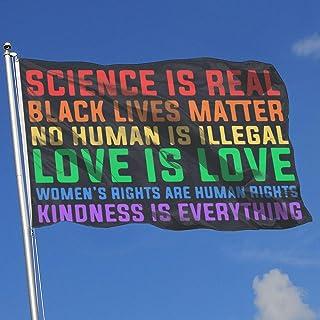 VHHFLG378 Science is Real Black Lives Matter Adjustable Wall Mount Flag Holder House Banner 3 by 5-Feet