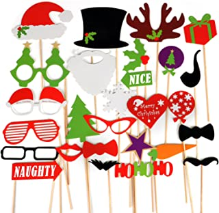 TRIXES Photo Booth Accessories - Fun Christmas Party - Photo Party Prop Assorted Masks