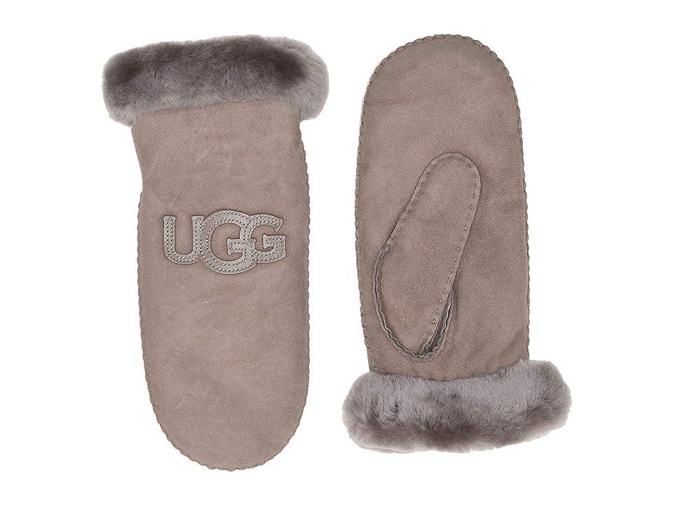 UGG Logo Water Resistant Sheepskin Mitten (Stormy Grey) Extreme Cold Weather Gloves