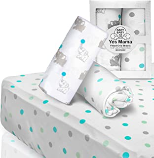 """Premium Baby Fitted Crib Sheets for Newborn, Infants, Boys & Girls - 2-Pack - 100% Jersey Cotton - Fits 52""""x28"""" Mattress -..."""