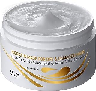 Vitamins Keratin Hair Mask Acondicionador Profundo - Biotina Proteína con Aceite de ricino Acondicionador Tratamiento de Reparación para Grueso Seco Dañado o Color Tratado Pelo Rizado Ondulado y Recto
