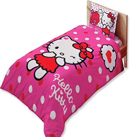 Hello Kitty Rosa Dimensioni Letto Singolo Set Copripiumino Trapunta 100 Cotone Prodotto Con Licenza Originale Con Copripiumino Lenzuolo E Federa Amazon It Casa E Cucina