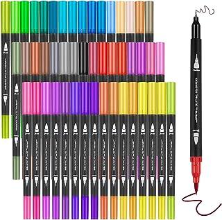 Marcadores Punta Pincel 48 Colores, Plumones Punta Pincel de 48 Colores,Marcadores Rotuladores Acuarelables con Doble Punt...