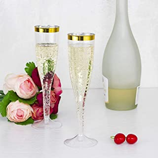 30 Premium Party Plastic Champagne Flutes - Clear Gold Rim Plastic Drink Cups, Recyclabel Unbreakable Stemware For Wedding, Toasting, Great For Mimosa, Cocktail Drinks or as Wine Cups, 5.5 Oz Cups
