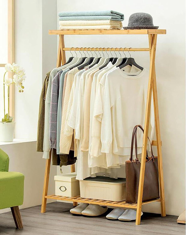 Simple Coat Rack Solid Wood Bedroom Hanger Floor Rack Storage Rack Simple Modern Clothes Rack