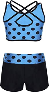moily Big Girls Polka Dot 2 Pcs Athletic Outfit Criss Cross Crop Top with Booty Shorts Dancewear Siwmsuit