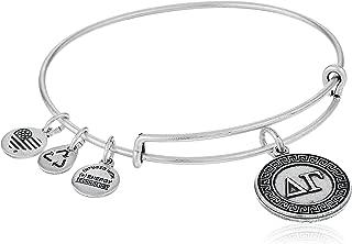 Alex and Ani Sorority Silver Delta Gamma Expandable Rafaelian Wire Bangle Bracelet, 2.6