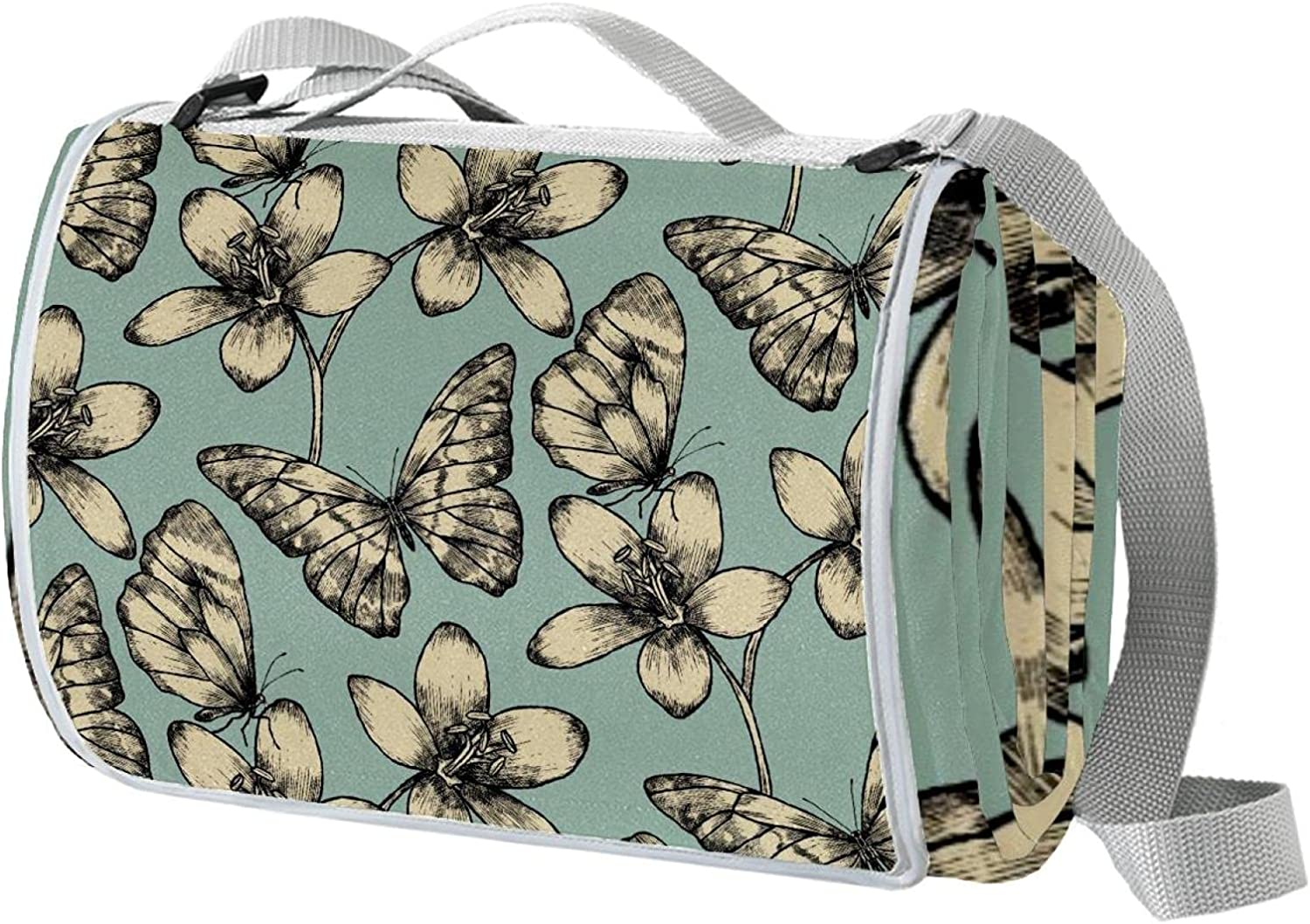 Butterfly Green Portable Extra Large Fold A surprise price is realized excellence Strap Picnic with Mats