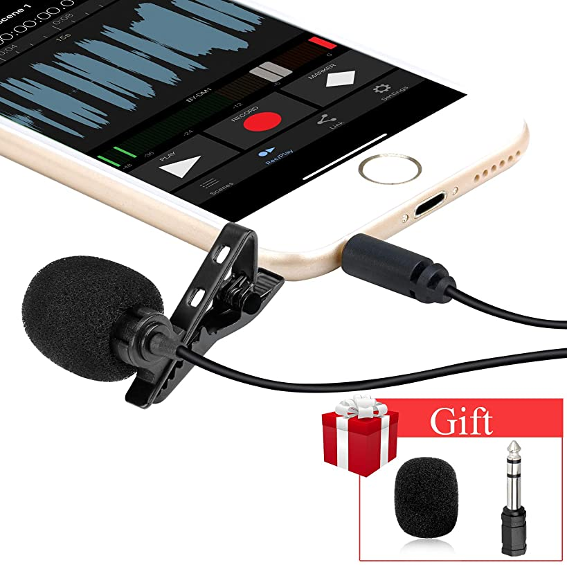 Professional Lavalier Lapel Microphone -Omnidirectional Mic BOYA BY-M1 with Easy Clip On System -for Canon Nikon Sony DSLR Cameras,iPhone,Android,Samsung, for Podcast Recording Interview Video