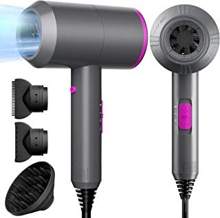 Fezax Asciugacapelli Ionico Professionale 2000W per Asciugatura Rapida, Potente Phon per Capelli con 2 Velocità e 3 Impost...