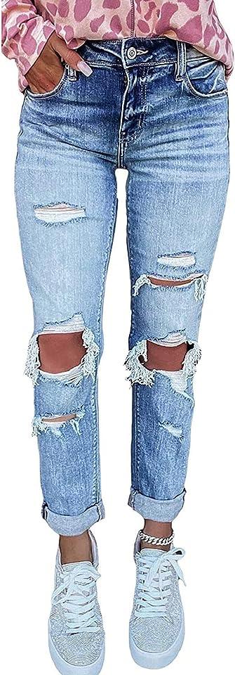Damen Skinny Stretch Jeanshosen Schick Zerrissene Destroyed mit Löchern Jeans High Waist Boyfriend Hose Kurzhose Slim Fit Röhrenjeans Casual Basic Rissen Löcher Ankle Jeanshosen