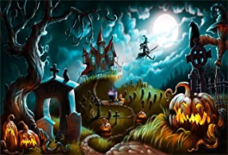 CSFOTO 7x5ft Halloween Background Halloween Night Mystery Graveyard Photography Backdrop Cemetery Darkness Ghost Gravestone Cross Witch Pumpkin Lantern Moonlight Party Photo Studio Props Wallpaper