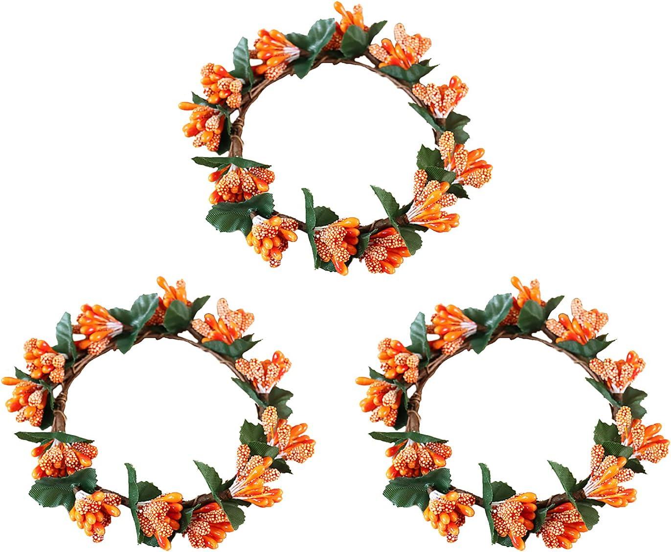 KHBNHJ 3 Pcs Quantity limited Miami Mall Fall Candle Rings Wreath Taper Decorative C 3.1inch