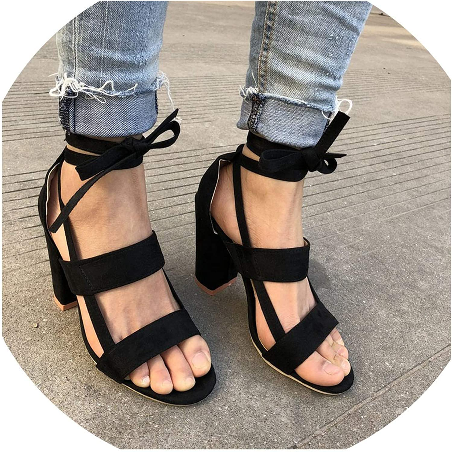 Monica's house Plus Size Female Ankle Strap High Heels shoes Thick Heel for Women Party Wedding,Black-D2312,7.5