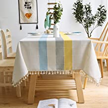 XSlive Embroidery Tablecloth with Tassel,Dust-Proof Cotton Linen Table Cover for Kitchen,Washable Decorative Farmhouse Rec...