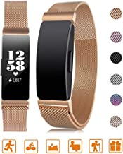 Tinkel Replacement Metal Bands Compatible with Fitbit Inspire and Inspire HR Stainless Steel Metal Bracelet Strap Adjustable Replacement Strap for Women Men - Rose Gold