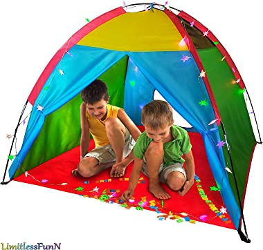 """LimitlessFunN Rainbow Kids Play Tent with Star Lights for Girls & Boys, Indoor & Outdoor Use, Camping Children Playhouse 48""""x48""""x36"""