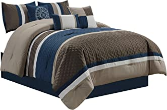 Chezmoi Collection Boston 7-Piece Pinsonic Quilted Trellis Quatrefoil Design Striped Pleated Bedding Comforter Set (King, Navy)