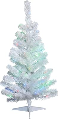 NOMA 3-Foot Pre-lit Christmas Tree with Lights   White Tabletop Tree   Color-Changing LED Bulbs   Warm White and Multicolor Lights