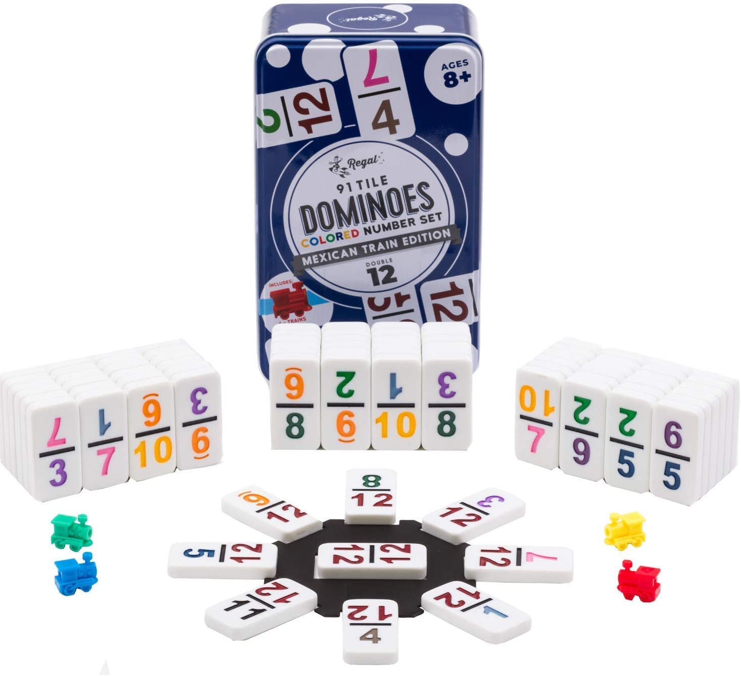 Dominoes Double 12 Pro Size Color Number Mexican Train /& Chicken Domino Game Set