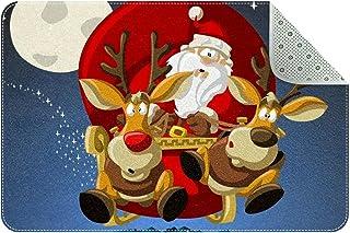 Doormat Custom Indoor Welcome Door Mat, Santa-Claus and Reindeer On Sleigh Home Decorative Entry Rug Garden/Kitchen/Bedroo...