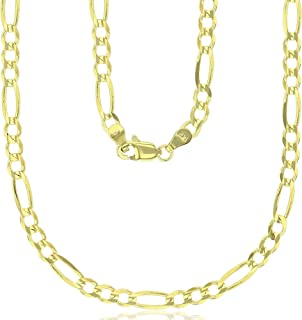 14K Yellow Gold Solid 2mm-12mm Figaro Chain with Lobster Claw Clasp   Italian Gold Chain   Gold Figaro Chain for Men and Women