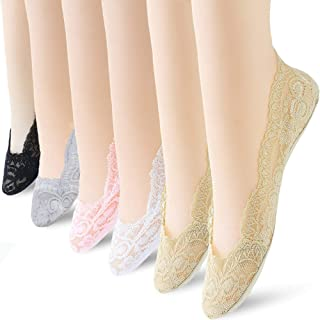 6 Pairs No Show Socks Lace Women No Show Liner Socks Womens No Show Socks Thin Low Cut Casual Socks Non Slip