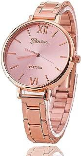 Luxurit Geneva Platinum Analogue Rose Gold Diamond Dial Chain Strap Watch for Girls & Women