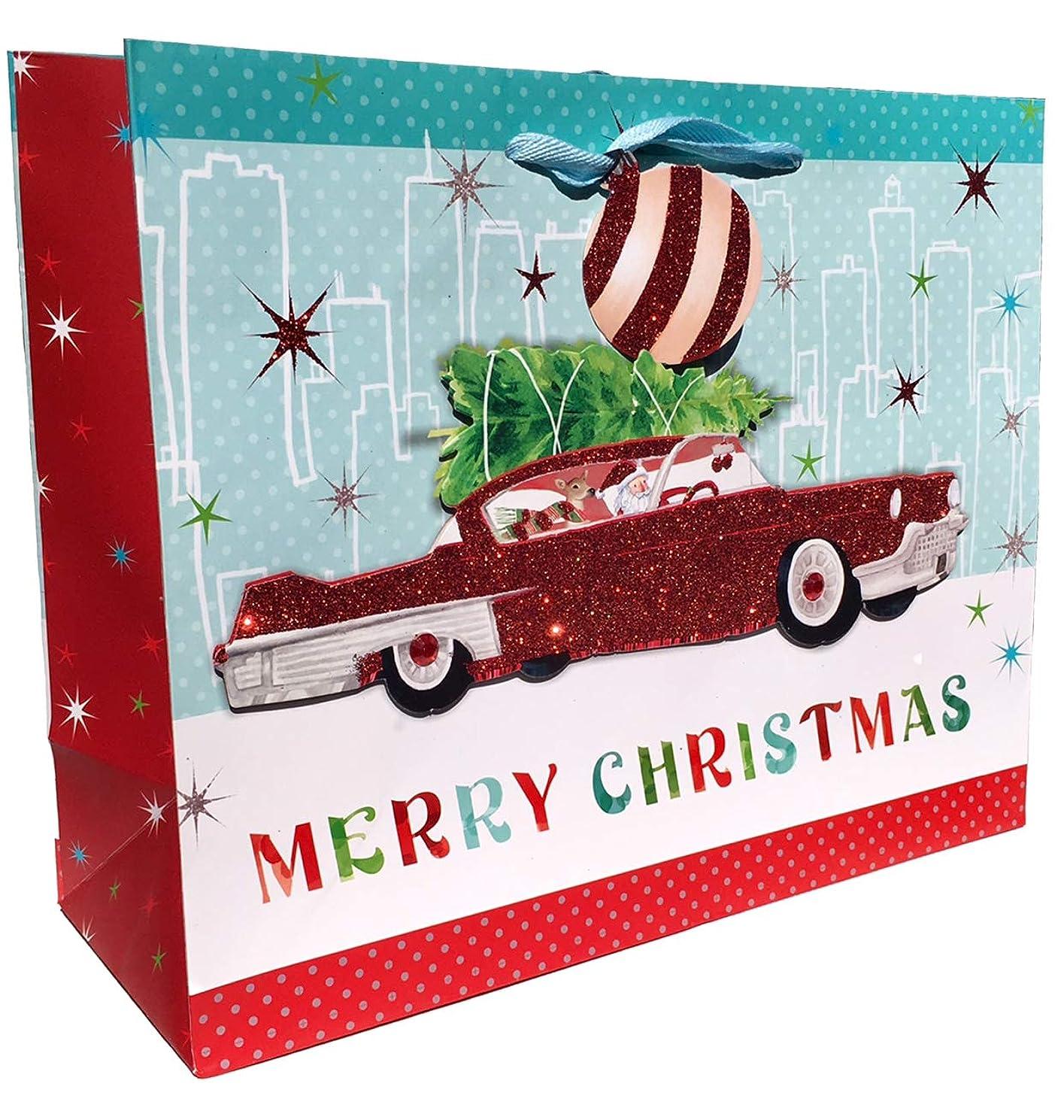 Molly & Rex Retro Santa in Antique Car Glitter Embellished 3-D Vertical Gift Bag 15832