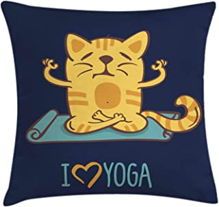 Ambesonne Animal Throw Pillow Cushion Cover, I Love Yoga Theme Cartoon Cat Exercise Mat Lotus Position, Decorative Square Accent Pillow Case, 20