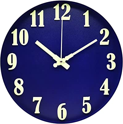 BECANOE Luminous Wall Clocks 12 Inch Blue Non Ticking Silent Large 3D Stereo Number Easy to Read Home/Kitchen/Office/School Clock