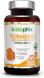 *Flash Sale* Organic Turmeric Curcumin 1000 mg 60 Vcaps with BioPerine - Powerful Anti-Inflammatory | Joint Health | Antioxidant Support | Immune Boost