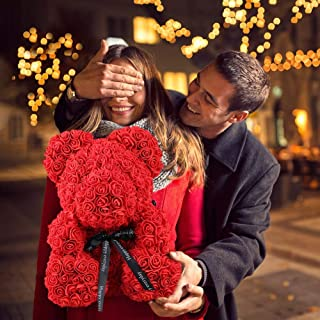 Rose Bear Teddy - Fathers Day Mom Anniversary Best Perfect New Unique handmade Gift Ideas for Lovers Women Men Teen Wife Husband Him Her Teen Son Daughter Valentine Wedding Birthday Love 25cm