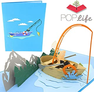 PopLife Fishing Boat 3D Pop Up Fathers Day Card for your Hubby! - Happy Anniversary Pop Up Card for Dad, Birthday Popup, Retirement Party - Folds Flat for Mailing - for Dad, for Husband, for Son, Boss
