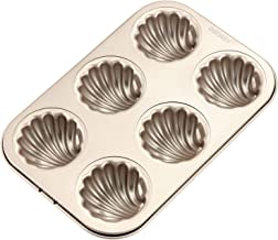"""CHEFMADE 6-cavity-2.5"""" Madeline Pan, Non-stick Shell-shaped Carbon Steel Madeleine Cake Pan, FDA Approved for Oven Baking (Champagne Gold)"""