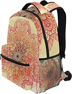 KVMV Magical Spiritual Hand Drawn Bloom with Swirled Petals Oriental Retro Lightweight School Backpack Students College Bag Travel Hiking Camping Bags
