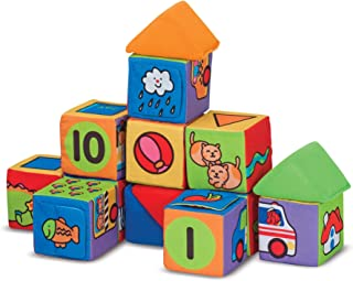 Melissa & Doug Match & Build Soft Blocks (Developmental Toys, 14 Pieces, Great Gift for Girls and Boys - Best for Babies and Toddlers, 9 Month Olds, 1 and 2 Year Olds)