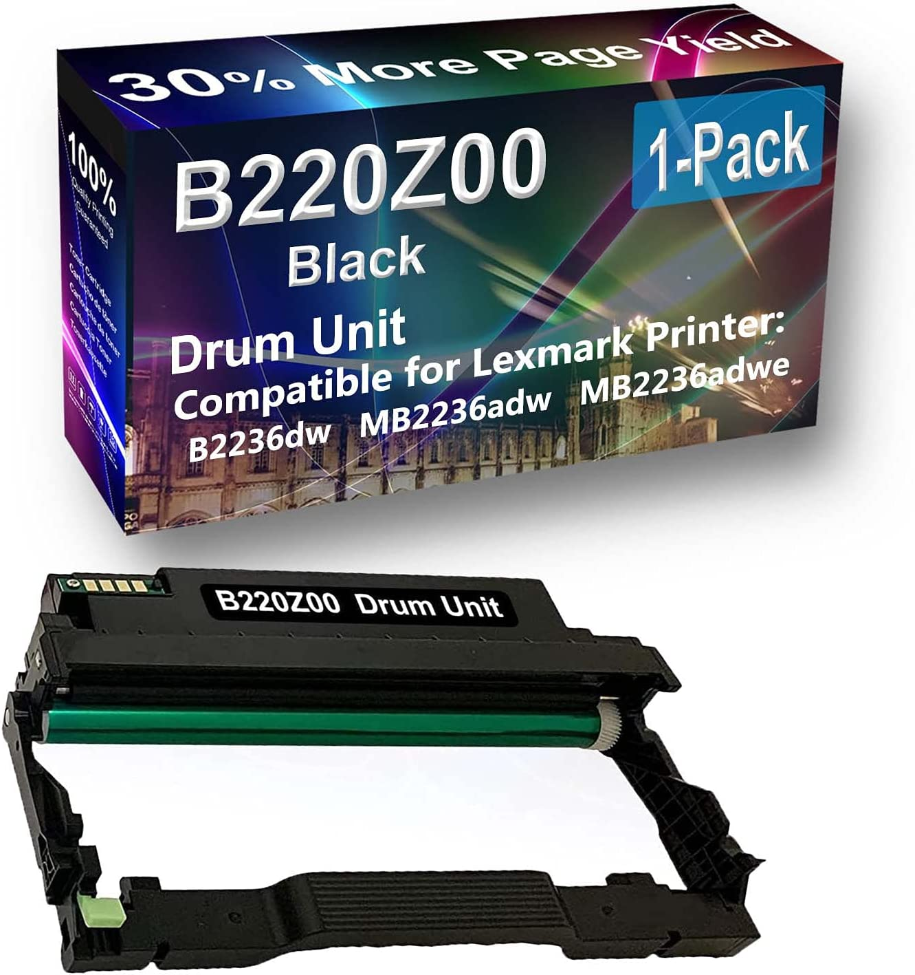 1-Pack Compatible Drum Unit (Black) Replacement for Lexmark E250X22G Drum Kit use for Lexmark E352 E352DN, E450, 450N, 450DN Printer