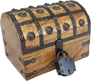 "Pirate Treasure Chest with Iron Lock Skeleton Key Small 8"" x 6"" x 6"" Decorative Box by Well Pack Box"