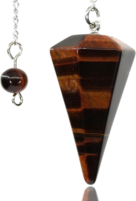 Natural Red 5 ☆ very popular Tiger Eye Gemstone Crystal Hexagonal Popular brand Facet Pointe 12