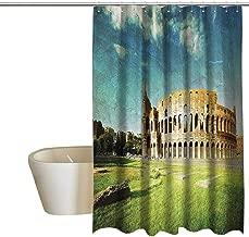 EwaskyOnline Vintage Decor Fabric Shower Curtain Sunset at Historical Colosseum in Rome Italian Landmark European Art Scenery Shower Curtains in Bath W72 x L84 Green Blue