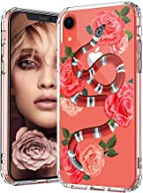 MOSNOVO iPhone XR Case, Clear iPhone XR Case, Fashion Snake with Roses Pattern Clear Design Transparent Plastic Hard Back Case with Soft TPU Bumper Protective Case Cover for Apple iPhone XR