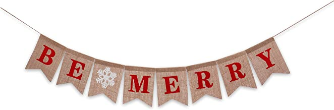 Fireplace Burlap Banner Christmas Decoration Be Merry Red Letter Bunting Home Party Decor Supplies Holiday Snowflake Indoor