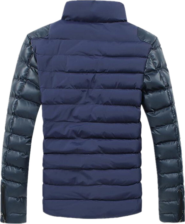 Allonly Men's Casual Cotton Zip-up Jacket Leather Windbreaker Jacket Cotton Coat