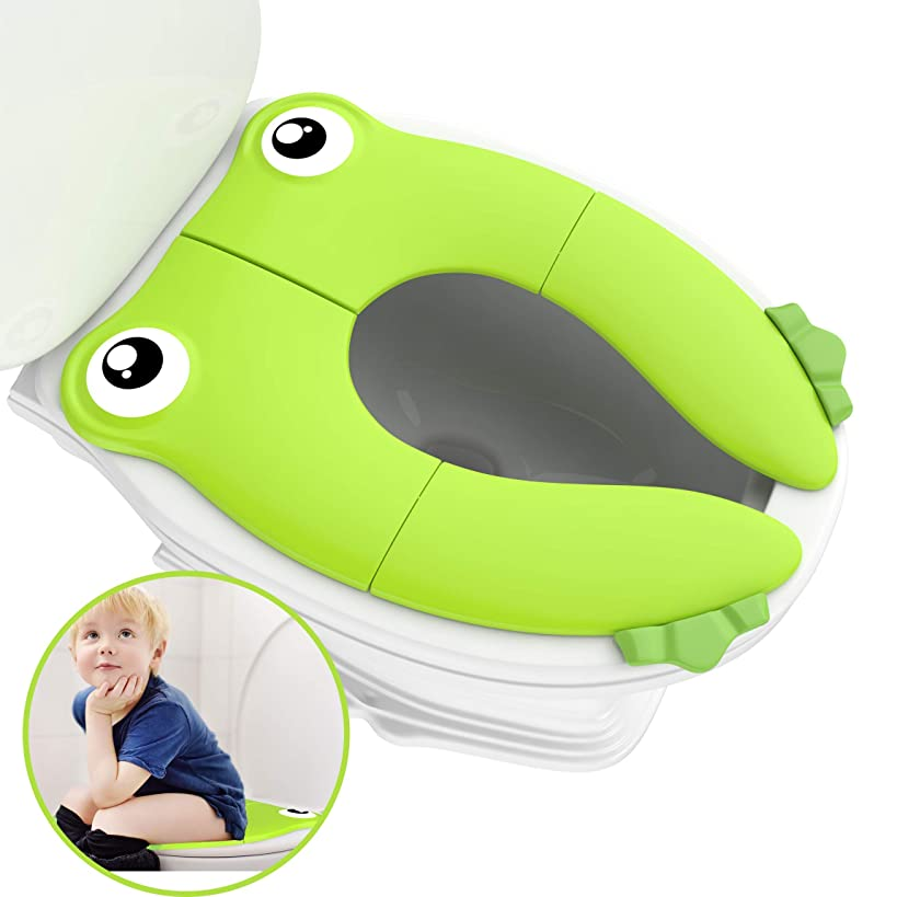 Portable Folding Large Non Slip Silionce Pads Potty Training Seat for Kids Boys & Girls, Toddlers Toilet Seat, Recyclable Potty Seat Cover for Travel