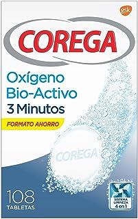 Corega Oxígeno Bioactivo, Tabletas Limpiadoras para Prótesis Dentales, Férula Dental y Ortodoncia, 3 Minutos, 108 Tabletas