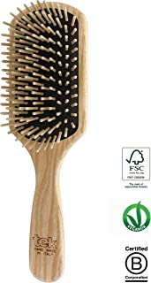 Tek paddle hairbrush in ash wood with regular pins - Handmade in Italy