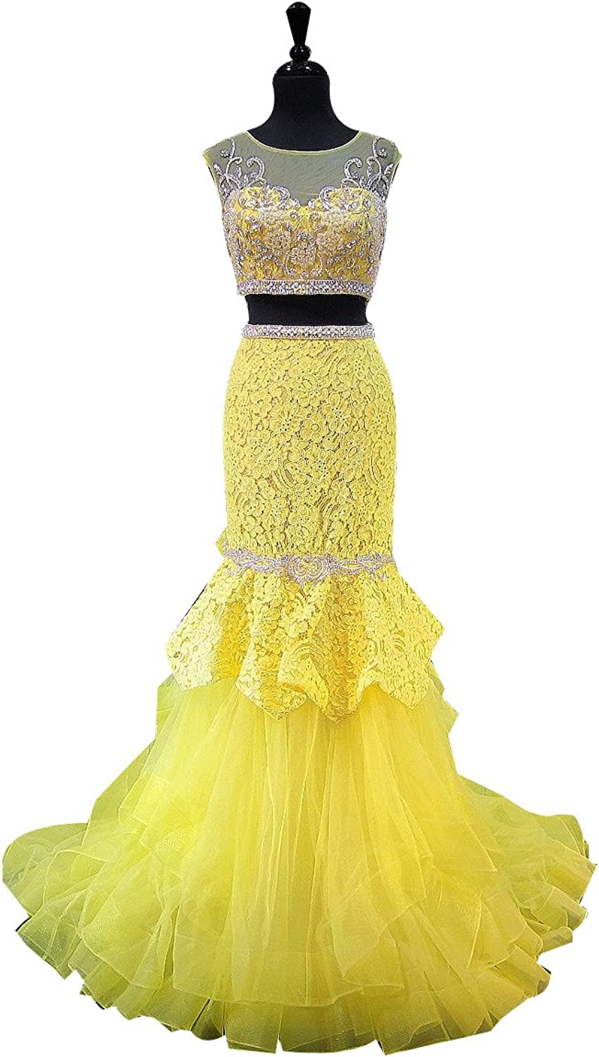 LISA.MOON Women's Jewel Mermaid Two Pieces Back Hole Tulle Lace Prom Dress