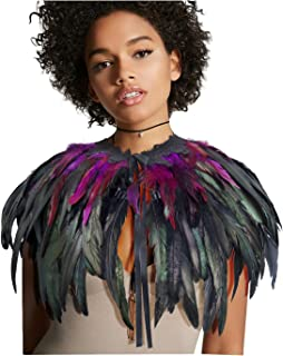 L'VOW Women' Natural Feather Shrug Cape Shawls Lace Collares for Halloween Cosplay